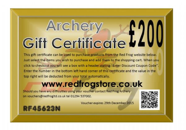 Red Frog £200 Gift Certificate